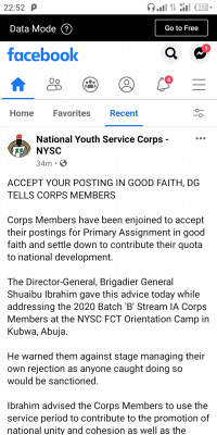 Accept your posting in good faith, NYSC DG tells Corps Members