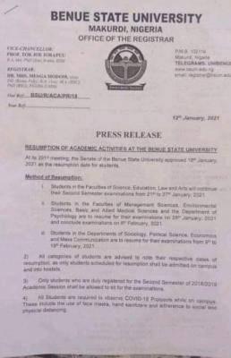 Benue State University notice on resumption of academic activities