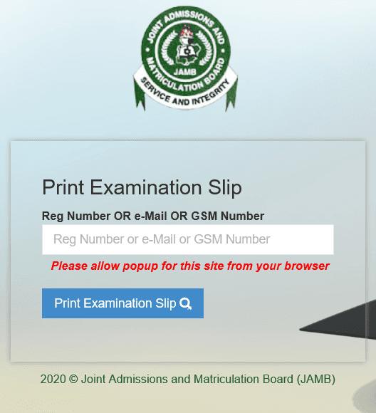 JAMB Exam Slip Printing