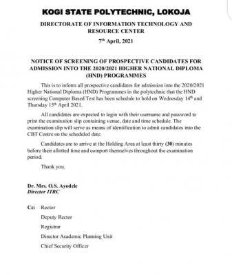 Kogi State Poly HND screening exercise, 2020/2021