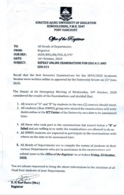 IAUE notice on 1st semester examination for 2019/2020 session