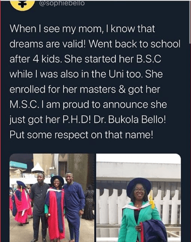 'Your Dreams Are Valid' Boy Celebrates his Mother as she Bags a Ph.D Degree