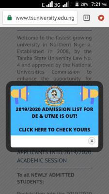 Taraba State University Admission List For 2019/2020 Session