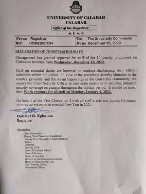 UNICAL notice on Christmas break