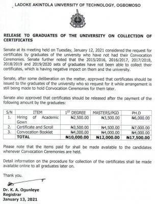 LAUTECH notice to graduates on collection of certificates