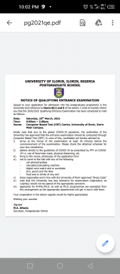 UNILORIN postgraduate qualifying exam date and details for 2020/2021 session