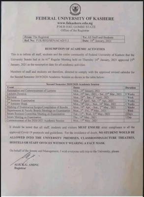 FUKASHERE notice on resumption of academic activities