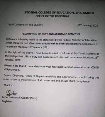 FCE Eha-amufu resumption date