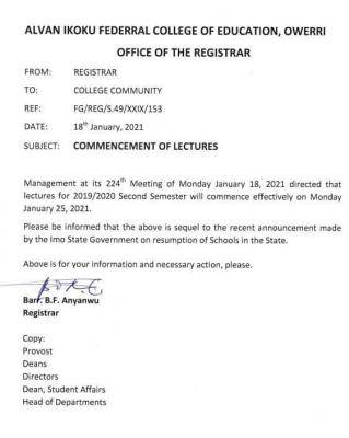 Alvan Ikoku COE notice on commencement of lectures