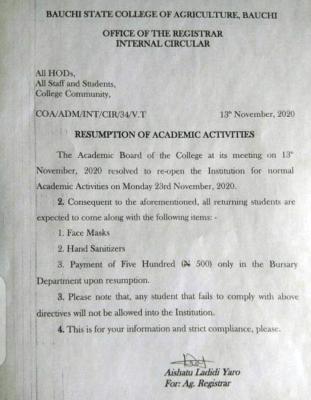 Bauchi State College of Agriculture resumption notice