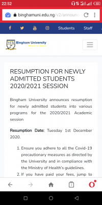 Bingham University resumption for newly admitted students for 2020/2021 session
