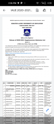 IAUE Batch C admission list for 2020/2021 session