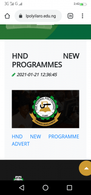 Federal polytechnic, ilaro 2nd supplementary HND admission ,2020/2021 session