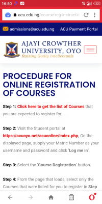 Ajayi Crowther University online registration procedure for 2020/2021 session