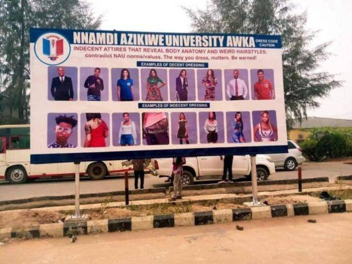 UNIZIK erects giant billboard with approved dress codes