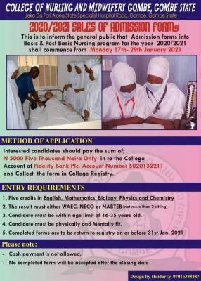 College of Nursing and Midwifery, Gombe basic & post-basic nursing admission, 2020/2021