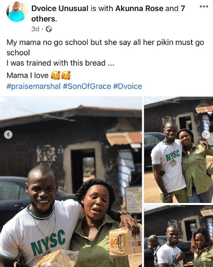 Corps member celebrates his mother who sold bread to fund his education