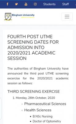 Bingham University 4th Batch Post-UTME screening date for 2020/2021 session