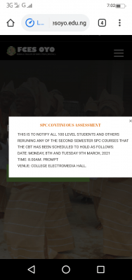 FCE Special, Oyo notice on SPC computer based test