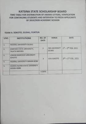 Katsina State Scholarship Board time table for distribution of awards/interview of fresh applicants