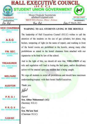 ATBU SUG notice to students living in school hostels