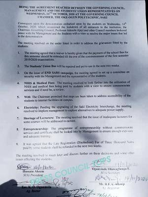 TOPS management agrees to students' requests following protest by the students