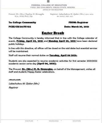 FCE Eha-amufu notice on Easter break