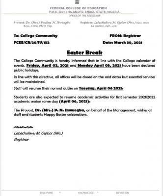 FCE Eha-amufu notice on Easter break