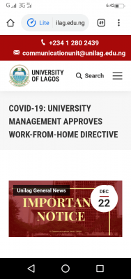 COVID-19: UNILAG gives work-from-home directive to staff