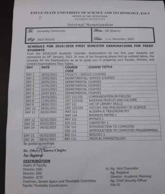 ESUT 1st semester examination schedule, 2019/2020 for fresh students
