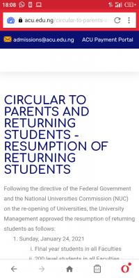Ajayi Crowther University notice on resumption of returning students