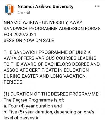 UNIZIK Sandwich Admission form for 2020/2021 session