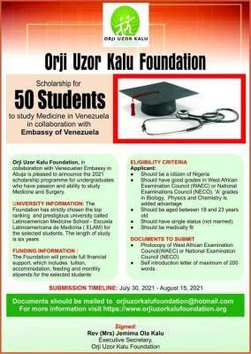 Orji Uzor Kalu Foundation scholarship to Study Medicine in Venezuela