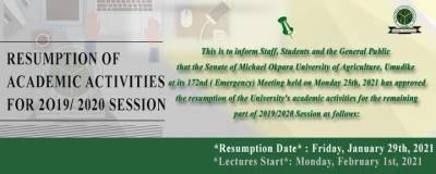 MOUAU announces resumption of academic activities