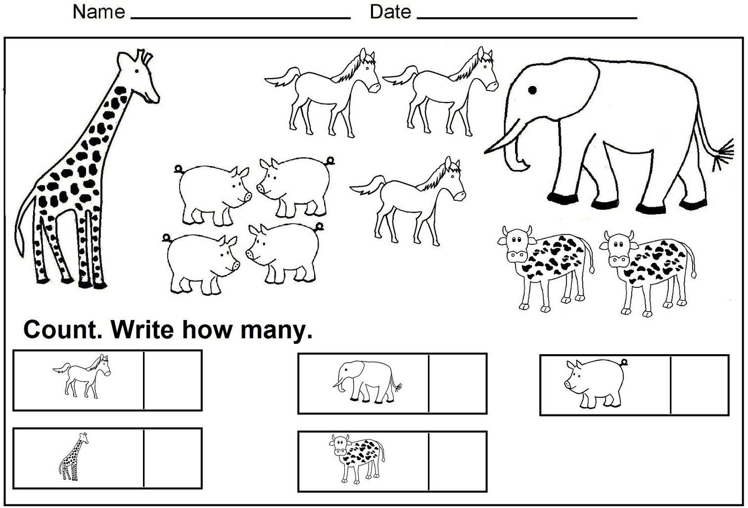 Kindergarten Math Count And Color Practice