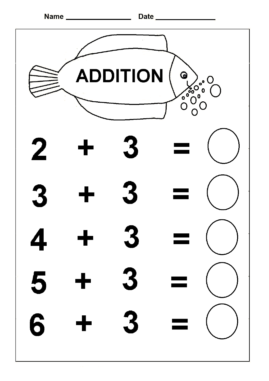 Simple Addition Kindergarten Math Practice Worksheets