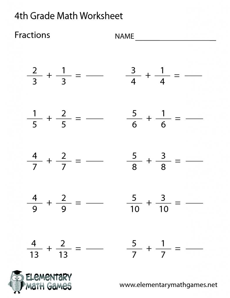 medium resolution of 4th Grade Adding Subtracting Fractions Practice