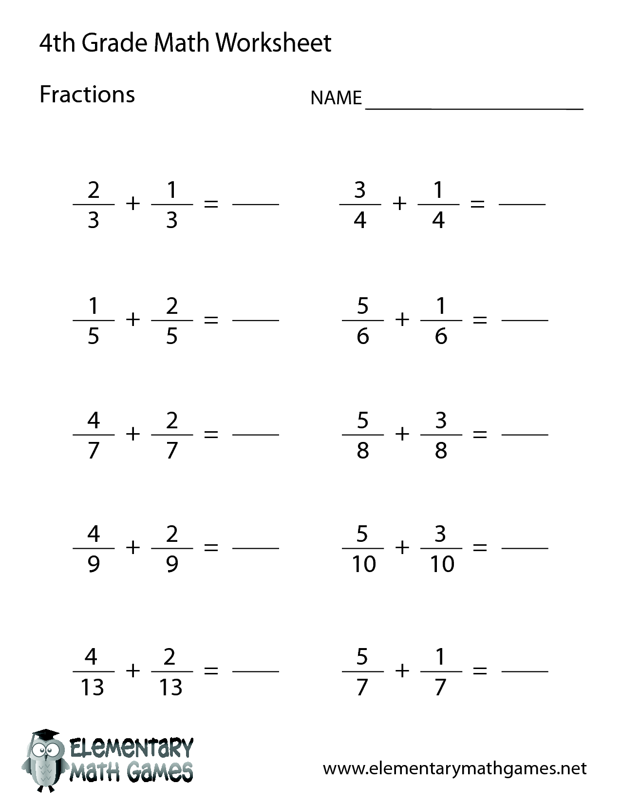 hight resolution of 4th Grade Adding Subtracting Fractions Practice