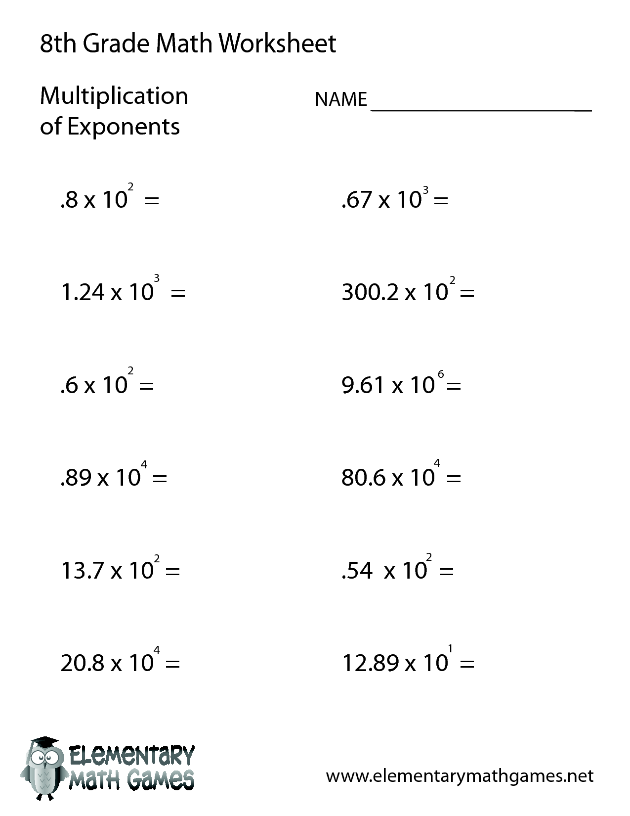 hight resolution of 8th Grade Math Problems Practice