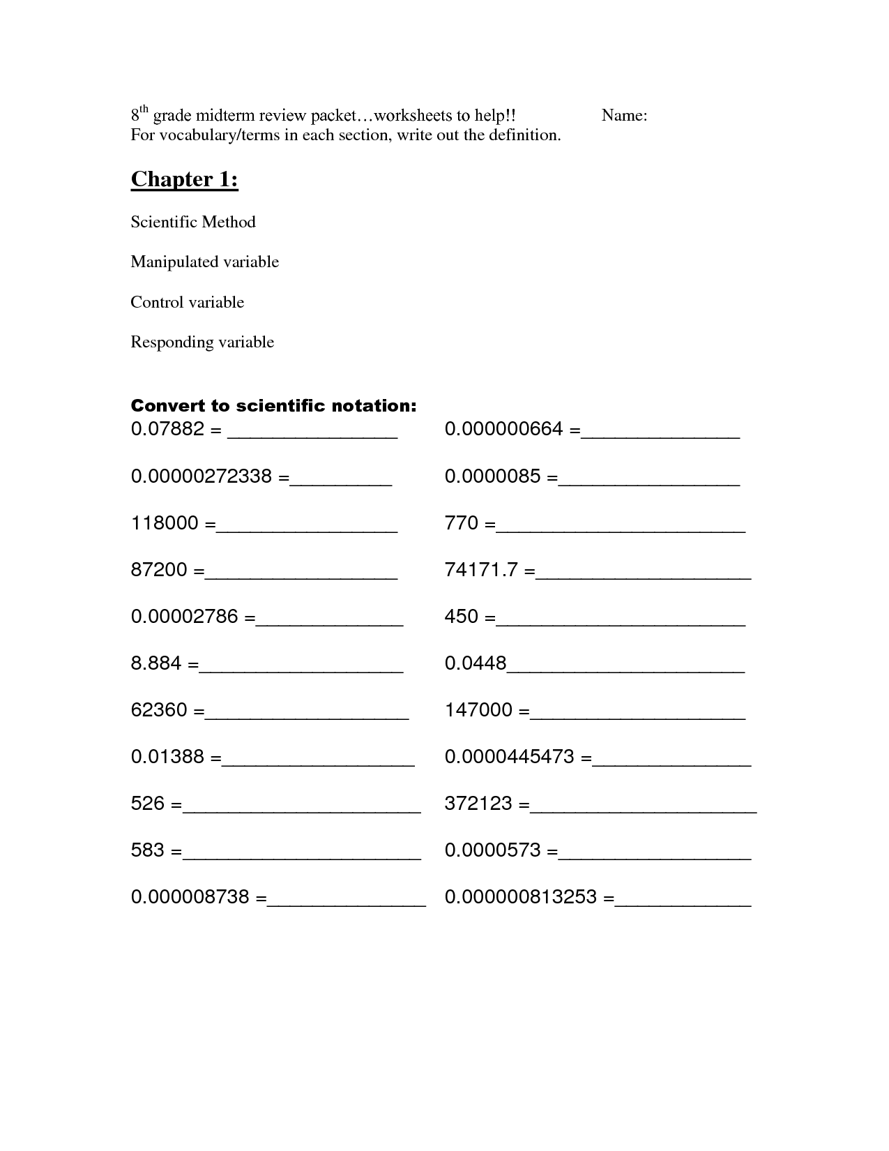 hight resolution of 8th Grade Math Review Worksheets