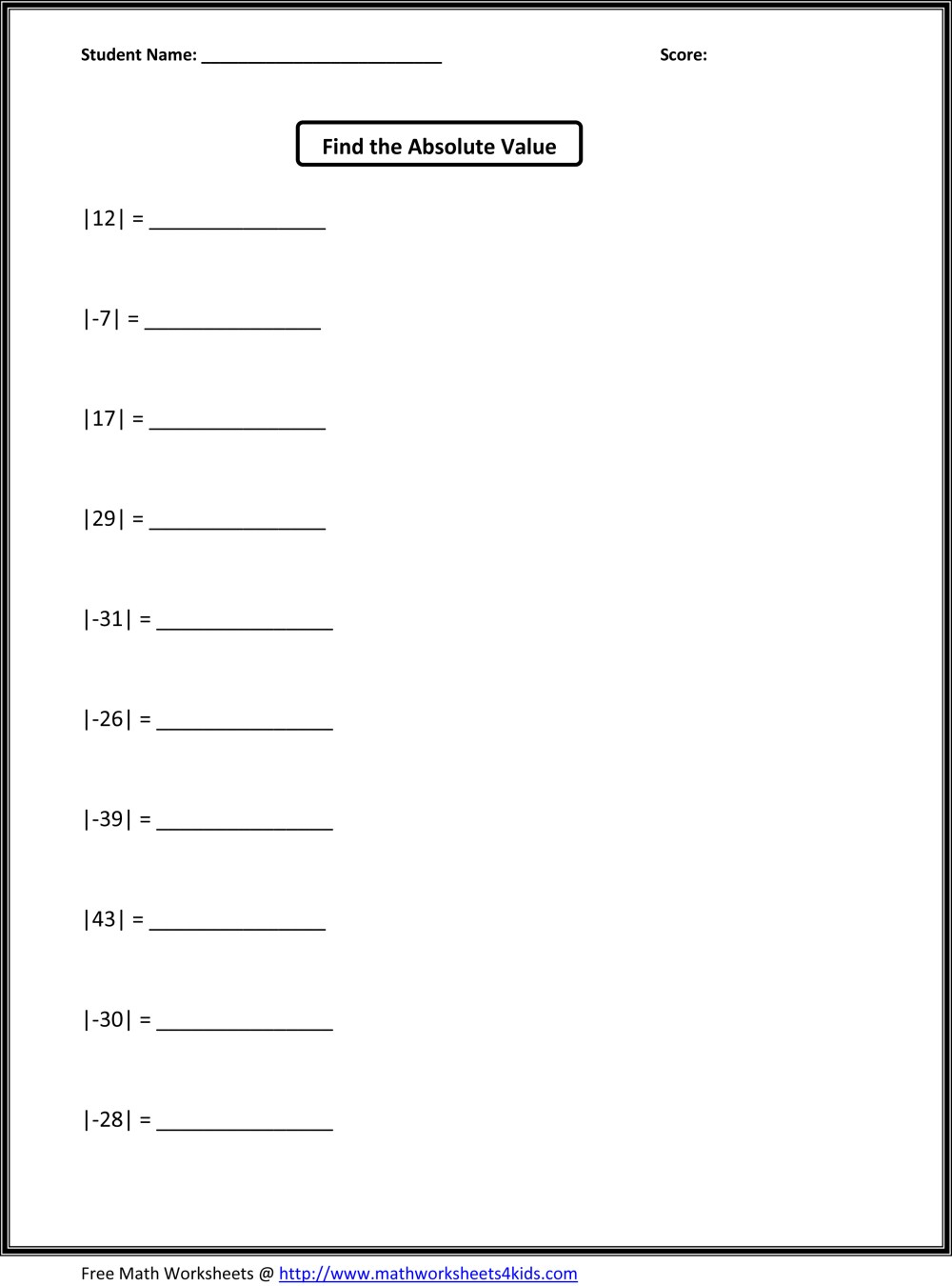medium resolution of Absolute Value Math Practice Worksheet