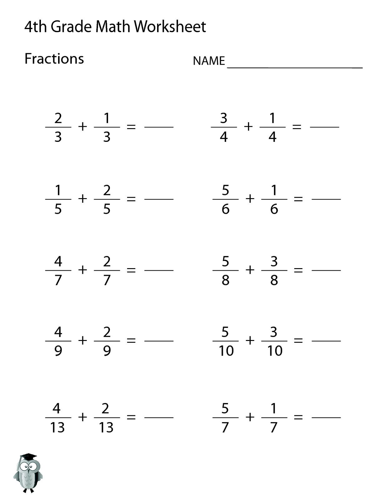 Begin Adding Fractions Practice