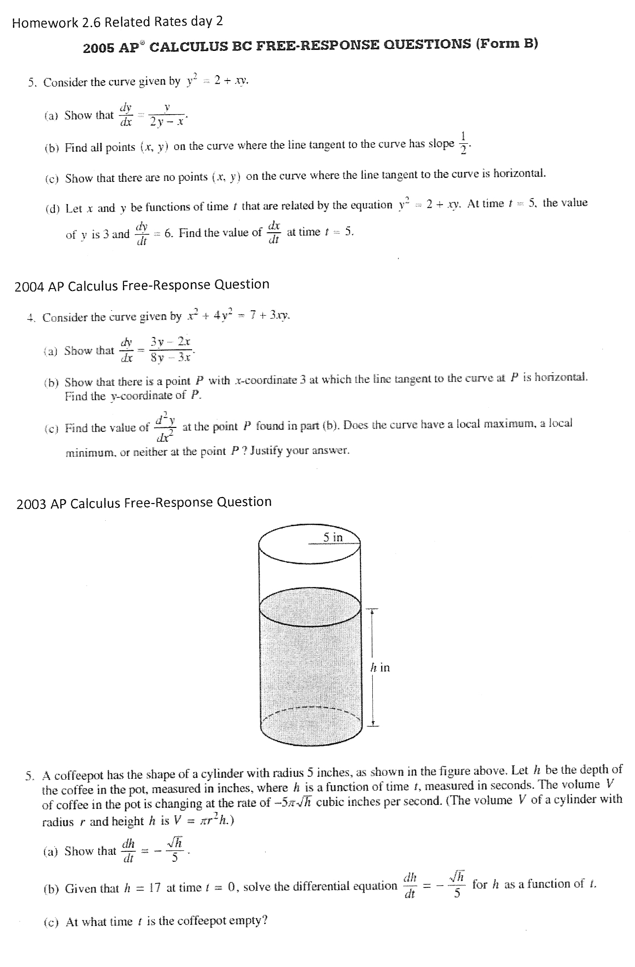 Calculus Related Rates Worksheet