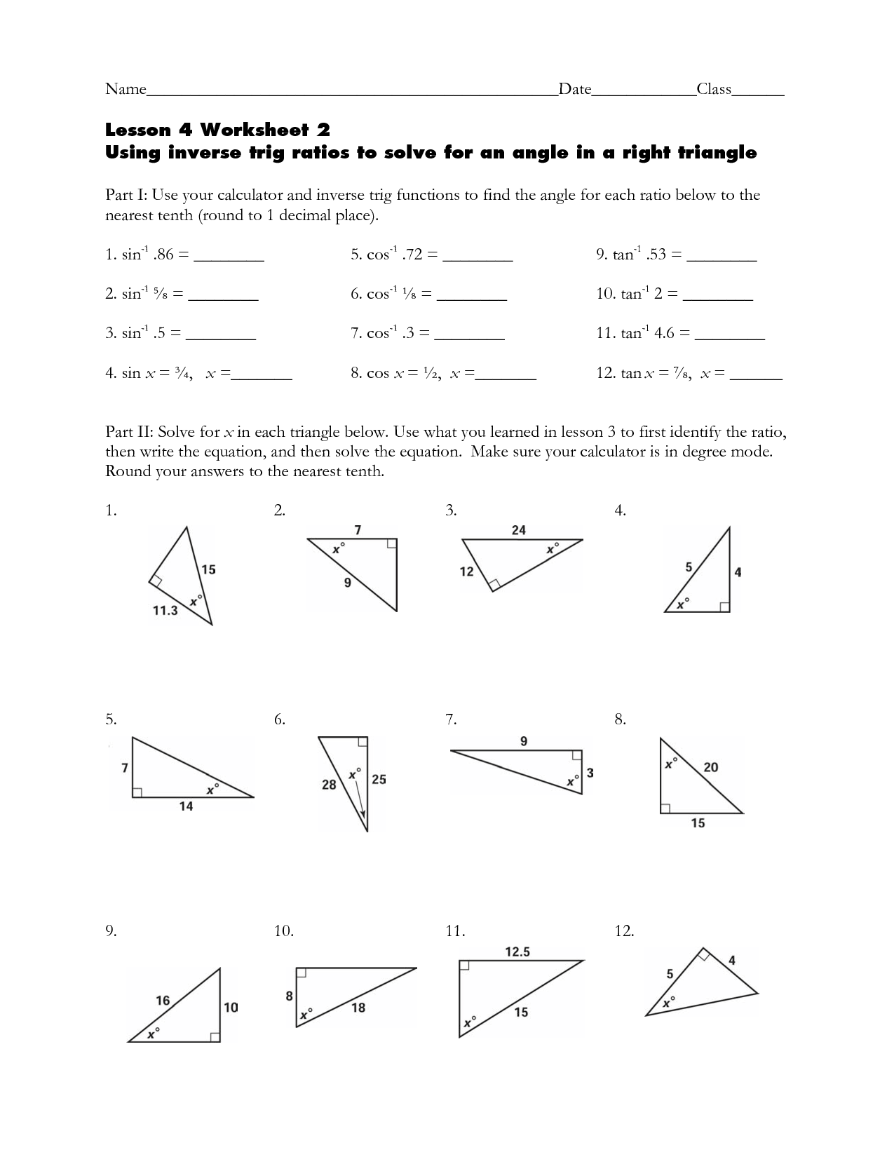 Inverse Ratios Right Triangle Trigonometry Worksheet