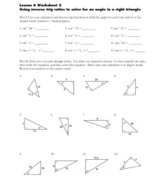 Inverse Ratios Right Triangle Trigonometry Worksheet [ 1650 x 1275 Pixel ]