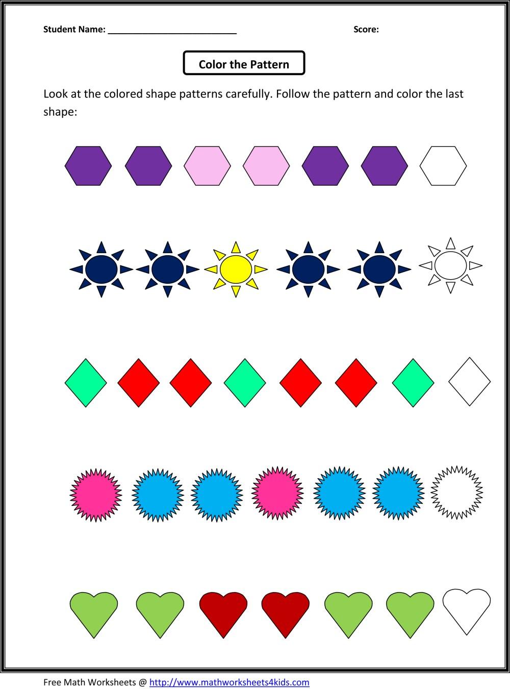 medium resolution of Patterns Practice Worksheet for 2nd Grade