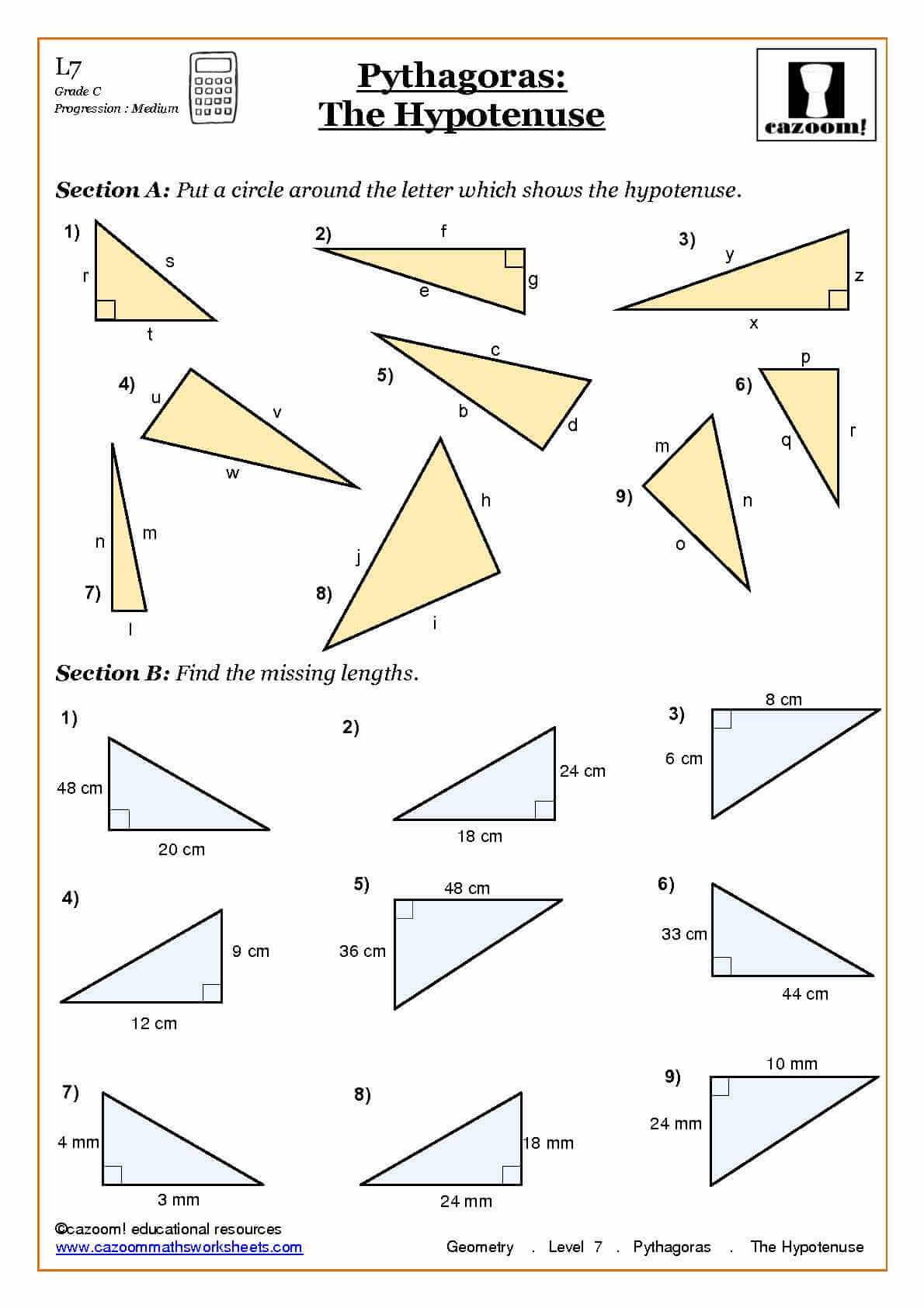 Pythagoras The Hypotenuse Geometry Worksheets