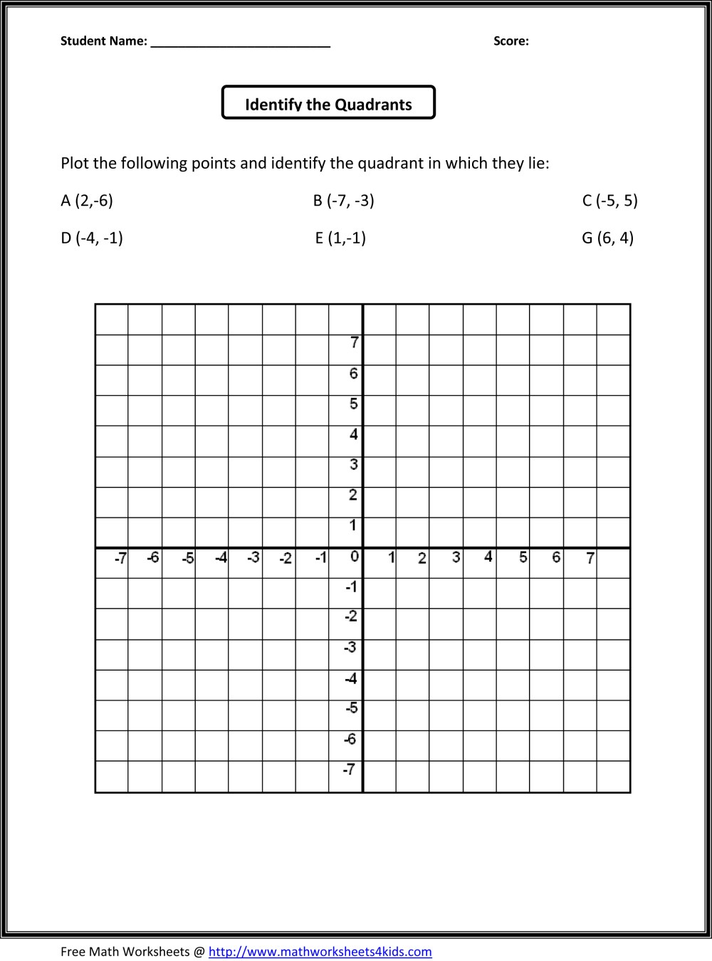 medium resolution of Quadrants Worksheet – Math Practice