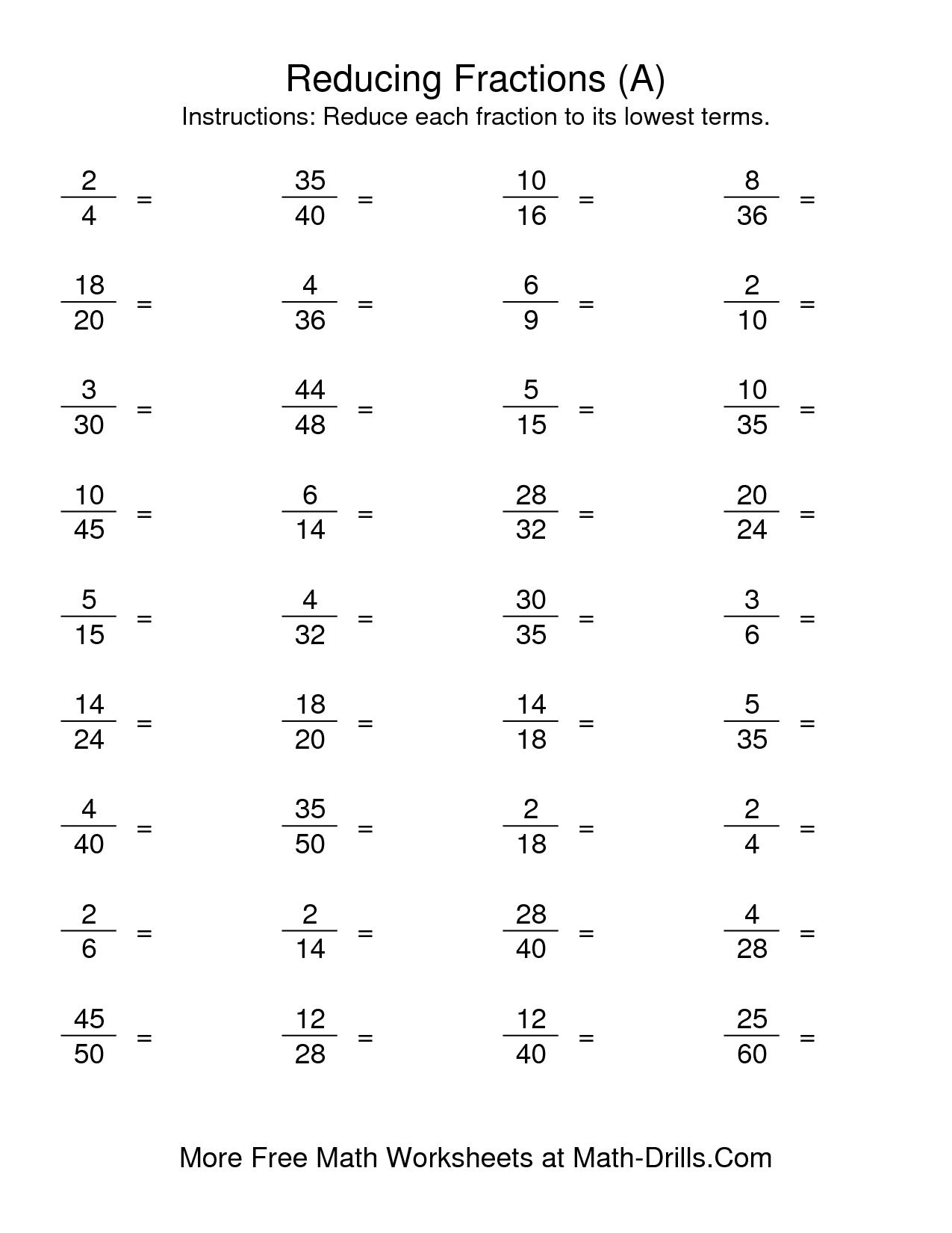 Reducing Fractions 3rd Grade Practice Worksheet