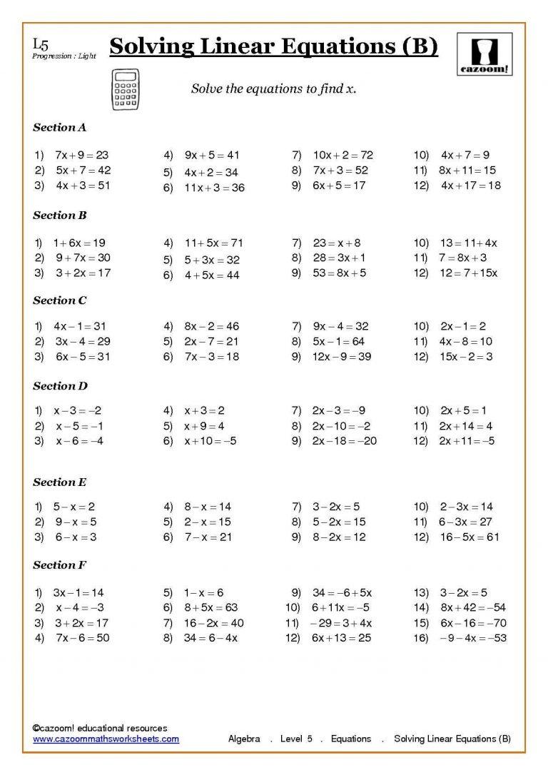 medium resolution of Solving Linear Equations Worksheet
